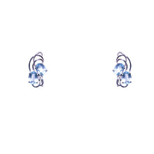 Mid Century 14k White Gold Aquamarine and Diamond Earrings