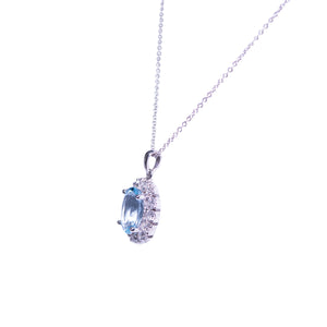 14k White Gold Aquamarine And Diamond Cluster Style Pendant