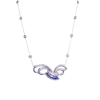 Platinum and 18k White Gold Sapphire and Diamond Necklace