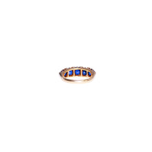 Antique 18k Yellow Gold Sapphire and Diamond Ring