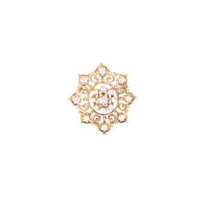 18K Yellow Gold Diamond Starburst Brooch