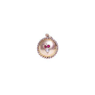 Antique 14k Yellow Gold Ruby And Diamond Pendant