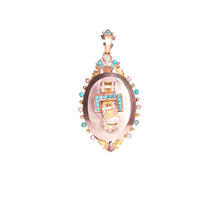 Antique 18k Yellow Gold Turquoise & Seed Pearl Locket