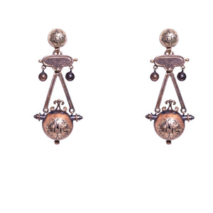 14k Yellow Gold Victorian Drop Earrings