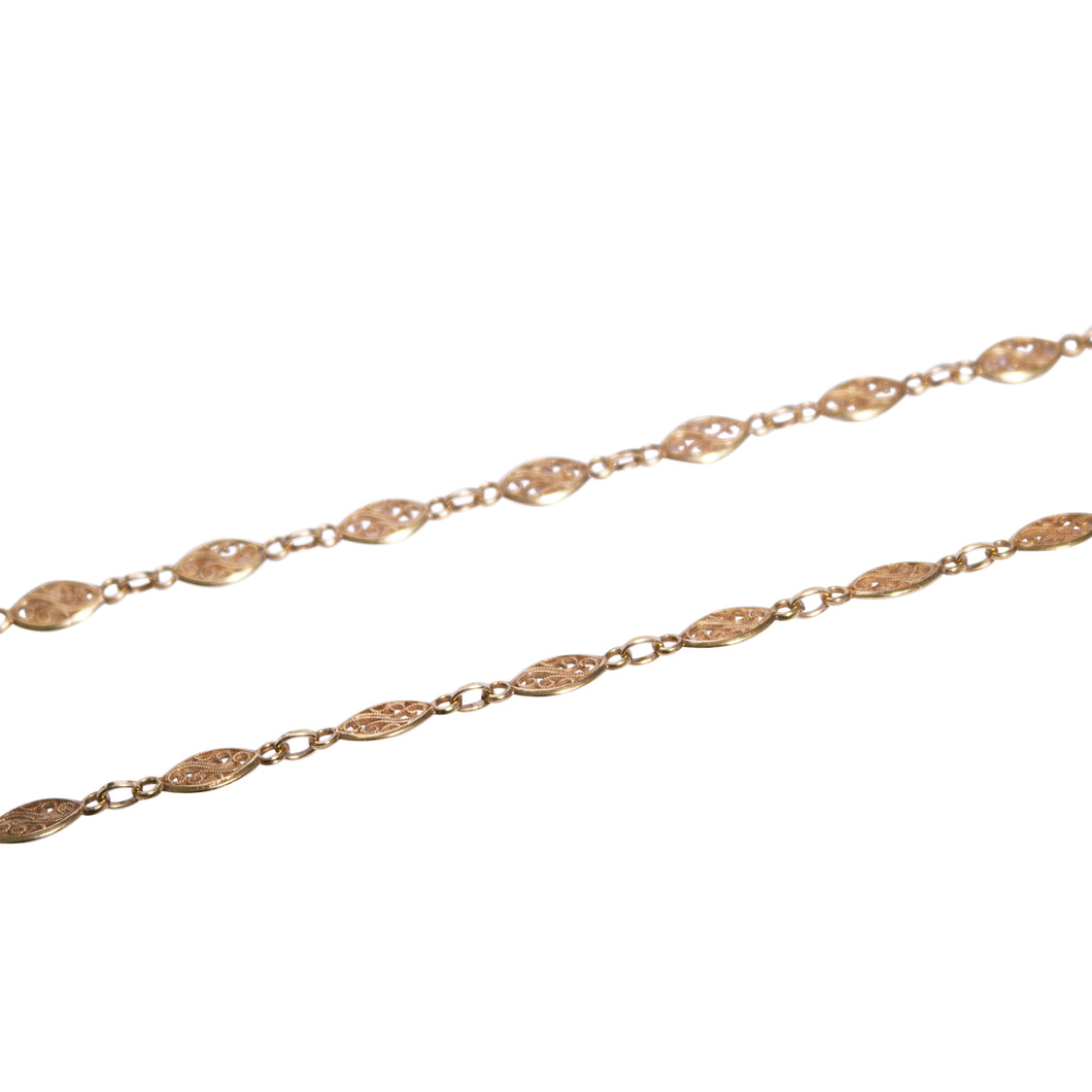 18k Yellow Gold Enamel Chain