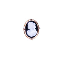 14k Yellow Gold Hardstone Cameo Brooch & Earring Set