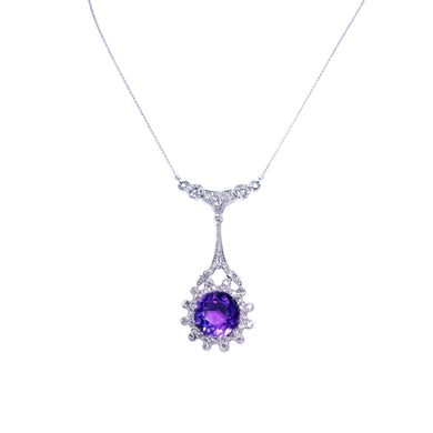 Edwardian Platinum Amethyst & Diamond Necklace