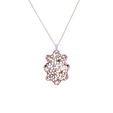 14 & 18K Rose, White & Yellow Gold Multi Color Diamond Pendant