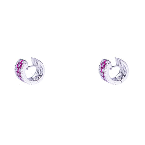 18k White Gold Ruby & Diamond Earrings