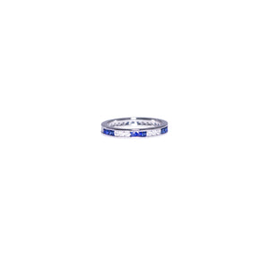 Platinum Sapphire & Diamond Eternity Band