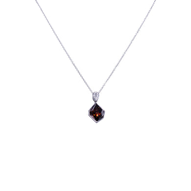 14k White Gold Fancy Color Diamond Pendant