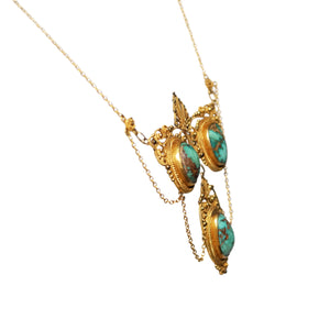 Edwardian 14k Yellow Gold Turquoise Necklace