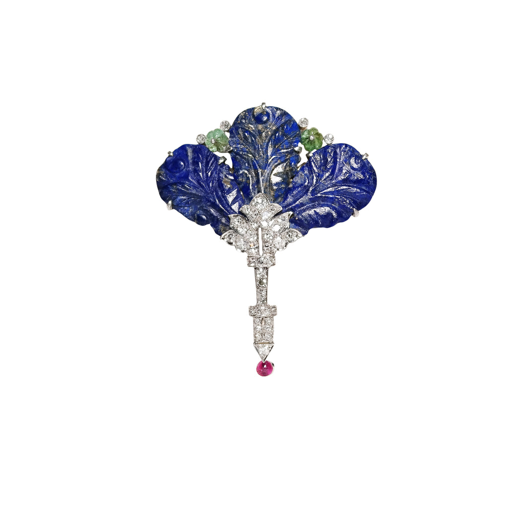 Art Deco Platinum, Lapis, Ruby, Emerald & Diamond Pin/Pendant.