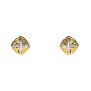 VCA 18k Yellow & White Gold Button Clip Earrings