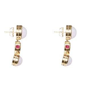 14k Yellow Gold Pink Quartz, Ruby & Diamond Drop Earrings