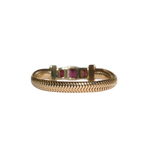 Retro 14k Yellow Gold Garnet & Diamond Snake link Bracelet