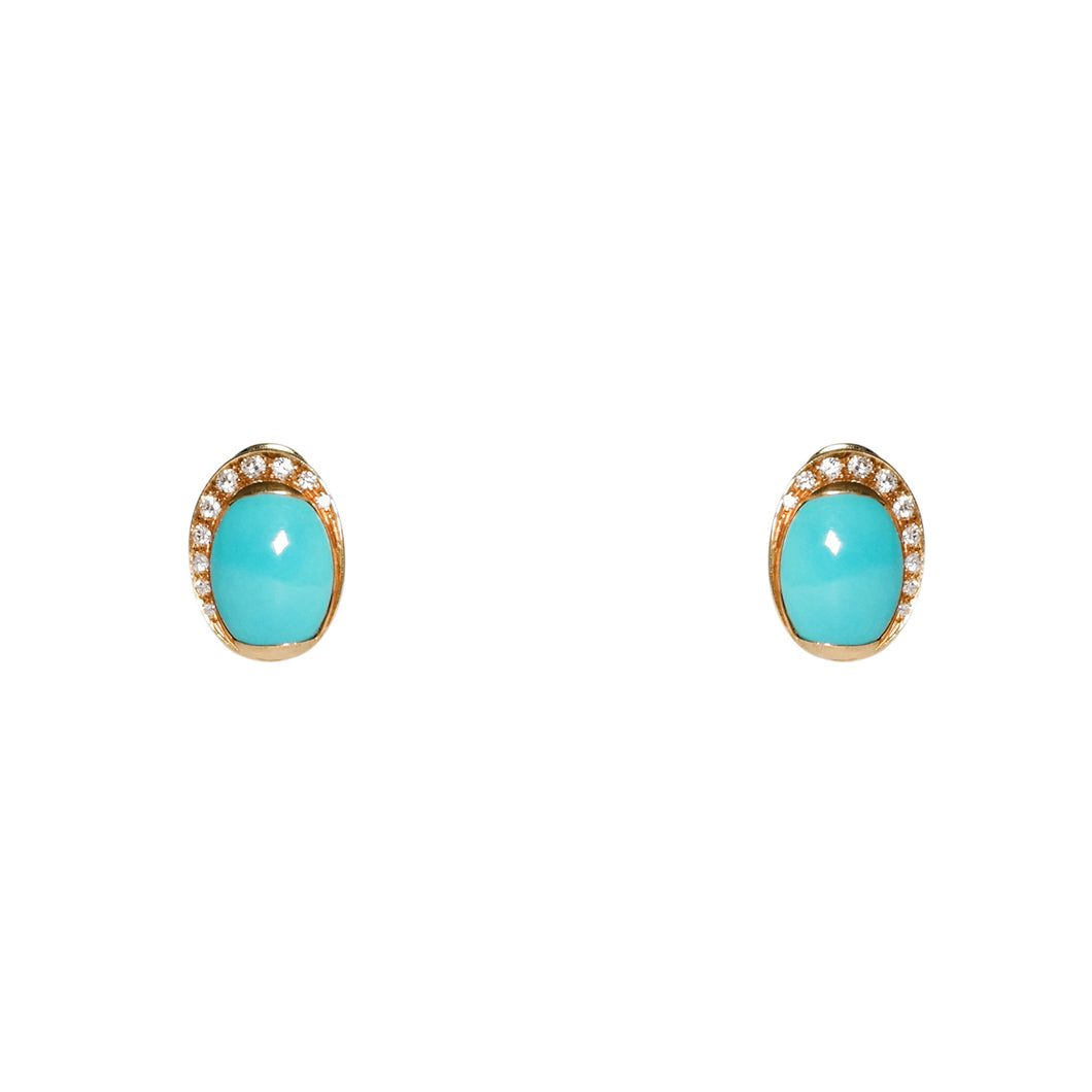 18k Yellow Gold Turquoise & Diamond Clip On Earrings