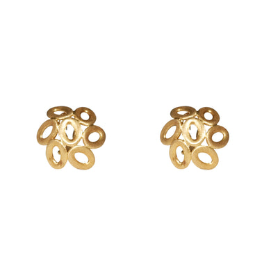 18k Yellow Gold Dome Clip Earrings