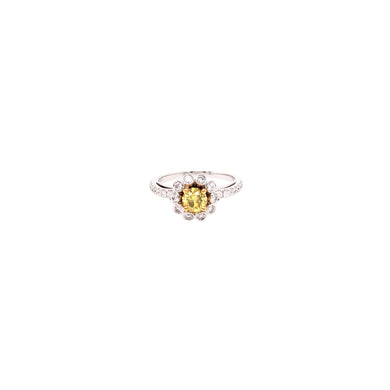 18k Yellow and White Gold Yellow Diamond Engagement Ring