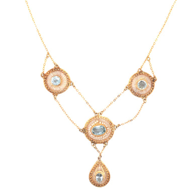 Mid Century 14k Yellow Gold Aquamarine and Seed Pearl Necklace