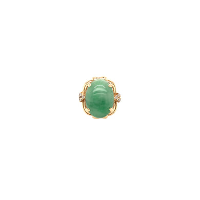 14k Yellow Gold Jade & Diamond Ring