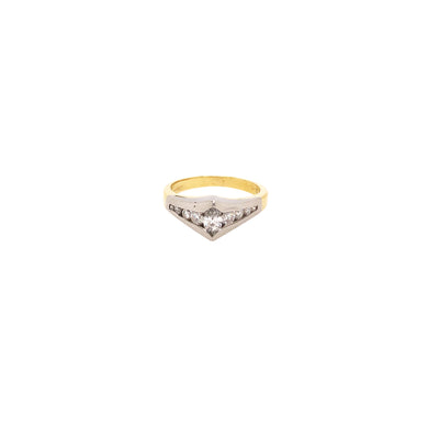 18k White and Yellow Gold Diamond Ring