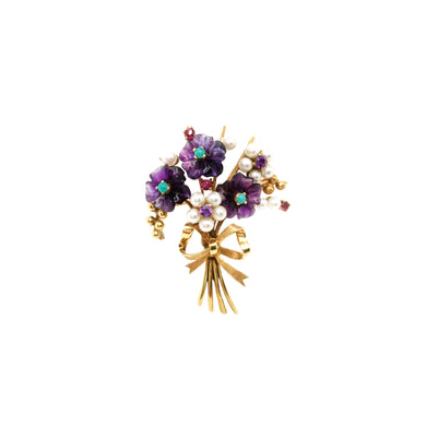 Retro 14k Yellow Gold Floral Amethyst, Pearl, Turquoise & Ruby Brooch