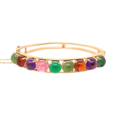 14k Yellow Gold Semi Precious Multi Stone Cabochon Bangle Bracelet