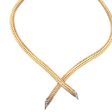 Retro 14k Yellow Gold Diamond Necklace