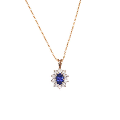 14k Yellow Gold Tanzanite and Diamond Necklace