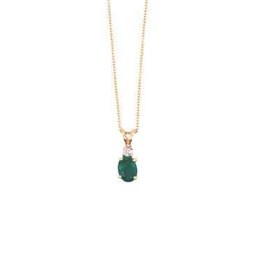 14k Yellow Gold Oval Shaped Emerald And Diamond Pendant