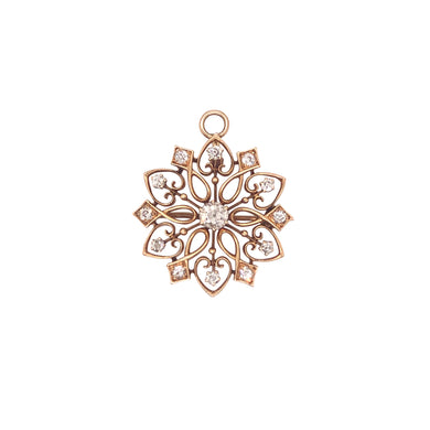 Antique 14k Yellow Gold Diamond Pin/Pendant