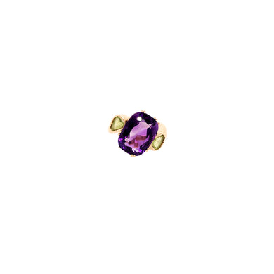 18k Yellow Gold Amethyst and Peridot Ring