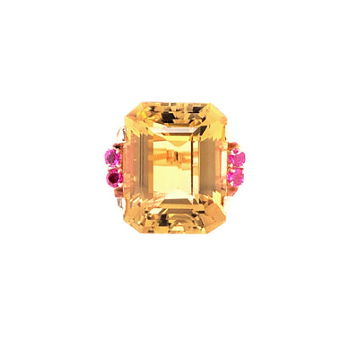 Retro 14k Rose Gold Citrine and Ruby Ring