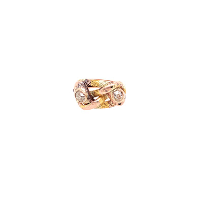 Antique 14k Rose Gold Diamond Snake Ring