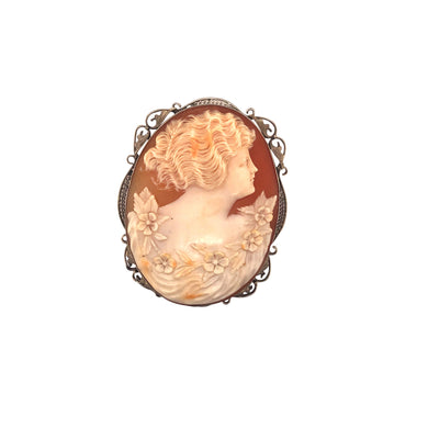 14k White Gold Cameo Brooch
