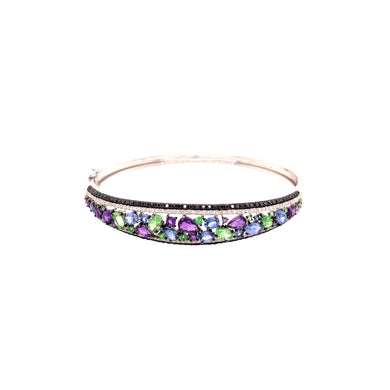 14k White Gold Diamond, Amethyst, Tsavorite Garnet, And Sapphire Bangle Bracelet