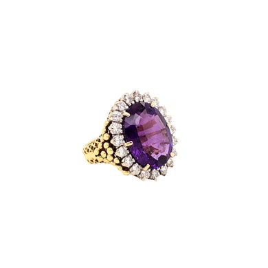 La Triomphe 18k Yellow Gold Amethyst And Diamond Ring