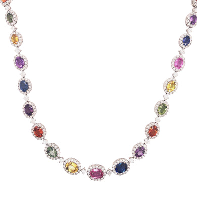 18k White Gold Multi Color Sapphire And Diamond Necklace