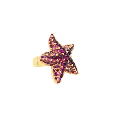 Pomellato 18k Yellow Gold Amethyst Star Fish Ring