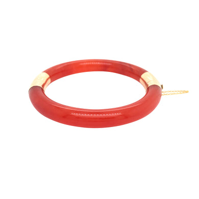 14k Yellow Gold Carnelian Bangle Bracelet