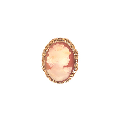 14k Yellow Gold Cameo Brooch