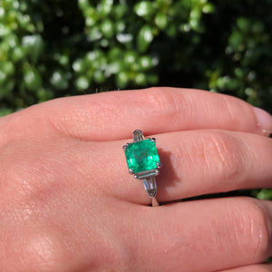 Mid-Century Platinum Emerald and Diamond Ring