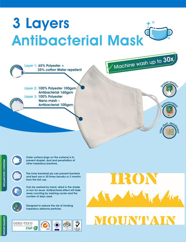 Iron Mountain 5 Pack Unisex 3 Layer Antibacterial Droplet Dust & Penetration Resistant Water Repellent Face Masks
