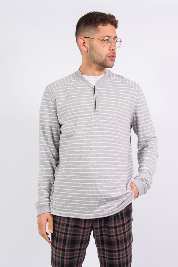 Nautica 1/4 Zip Grey Striped Lightweight Sweatshirt