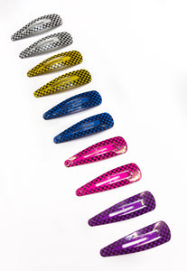 Checkerboard Print Hair Clips