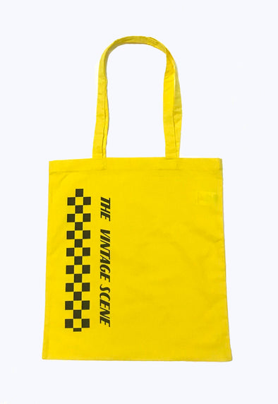 The Vintage Scene Yellow Checker Tote Bag