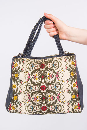 Vintage Floral Tapestry Shoulder Bag