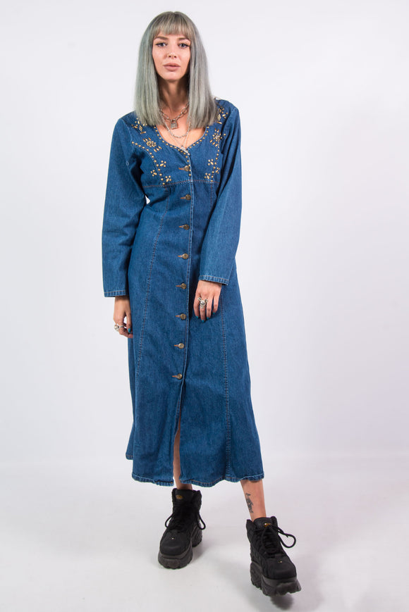 Vintage 80's Western Denim Dress
