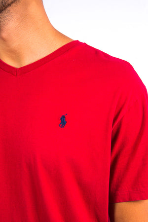 Red Ralph Lauren V-Neck T-Shirt